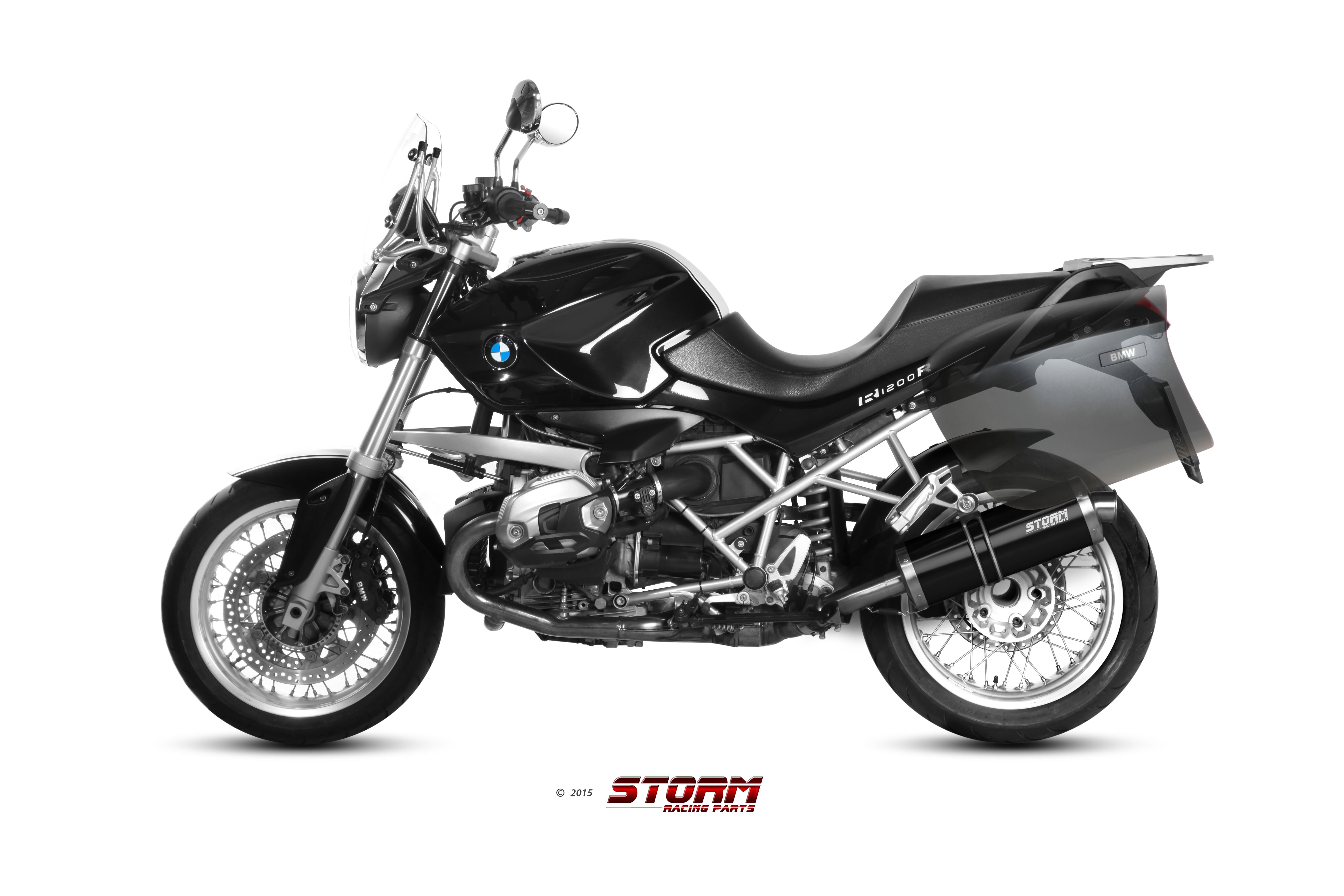 BMW R 1200 R Exhaust Storm Oval Black stainless steel B.028.LX2B