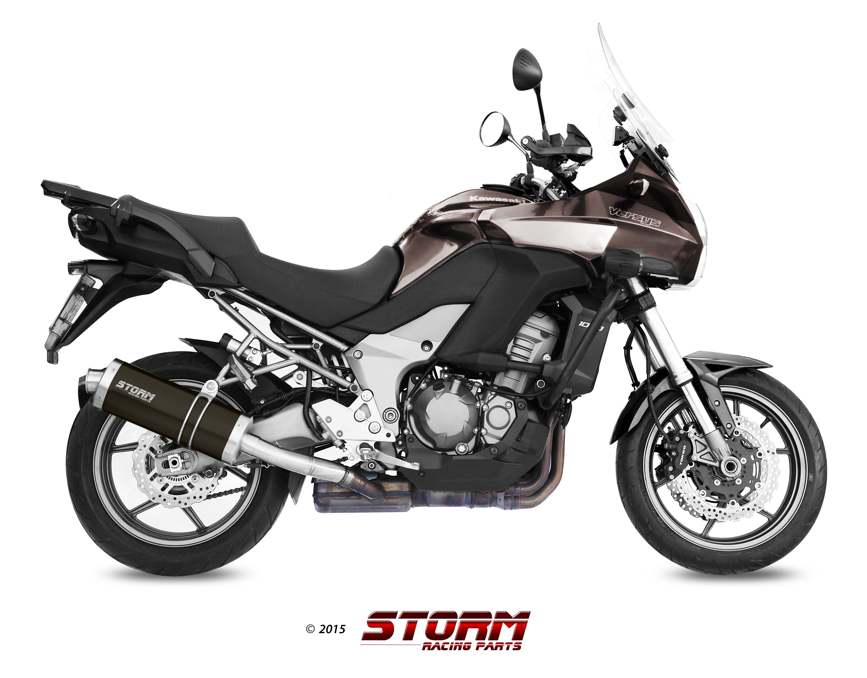 KAWASAKI VERSYS 1000 Exhaust Storm Oval Black stainless steel K.034.LX2B
