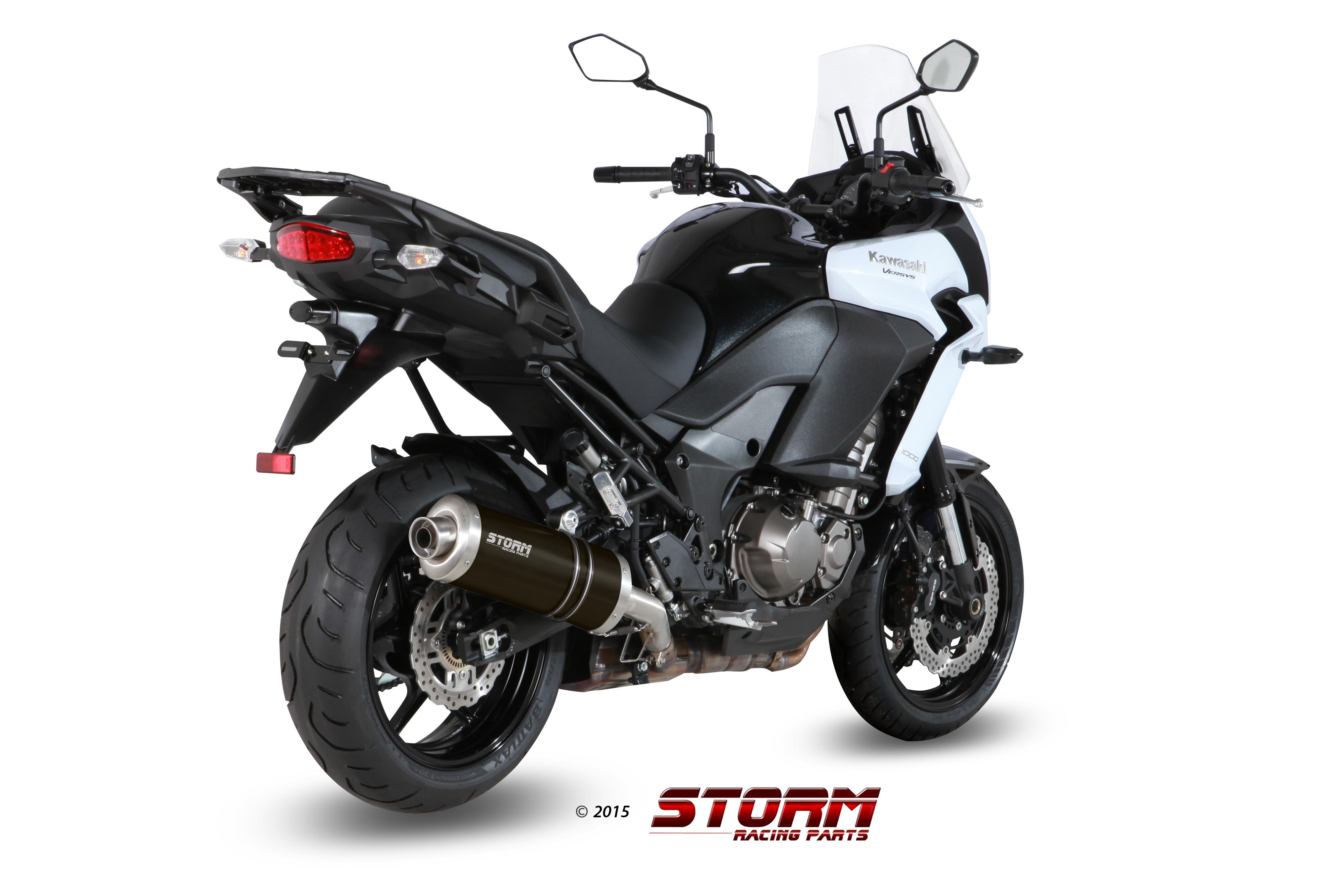 KAWASAKI VERSYS 1000 Exhaust Storm Oval Black stainless steel 74.K.040.LX2B