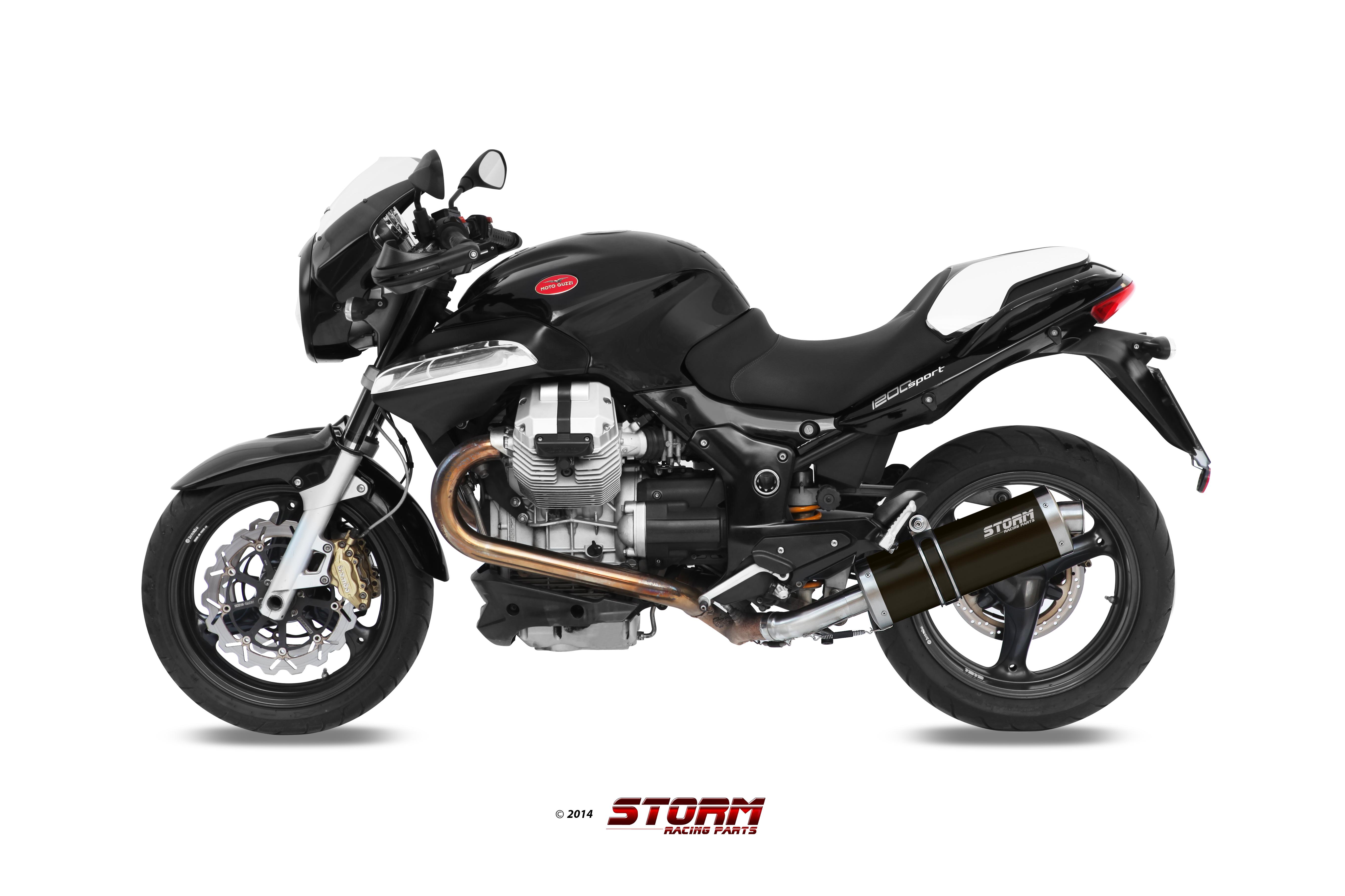 Scarico MOTO GUZZI BREVA 1200 Storm Oval Inox Nero M.008.LX2B