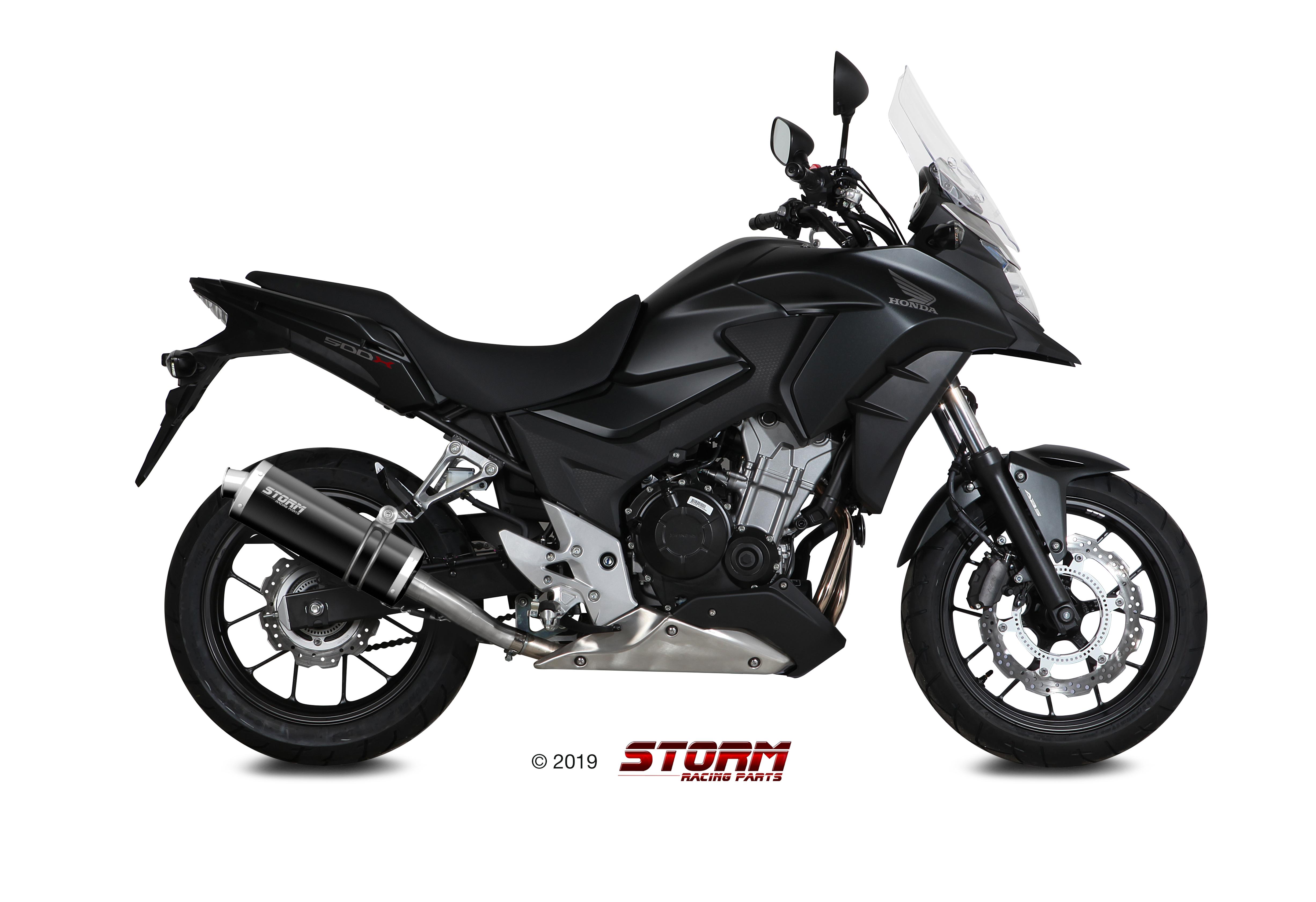 HONDA CB 500 X Exhaust Storm Oval Black stainless steel H.061.LX1B