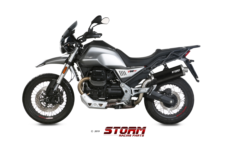 Scarico MOTO GUZZI V85 TT Storm Oval Inox Nero 74.M.013.LX2B