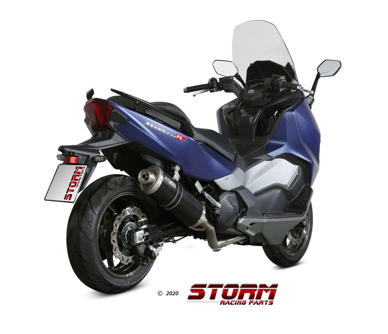 SYM MAXSYM 500 TL Exhaust Storm Oval Black stainless steel SY.002.LX2B
